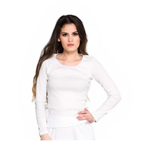 Ladies Cotton Thermal Underwear Long Sleeve Top White (sz 8-22)