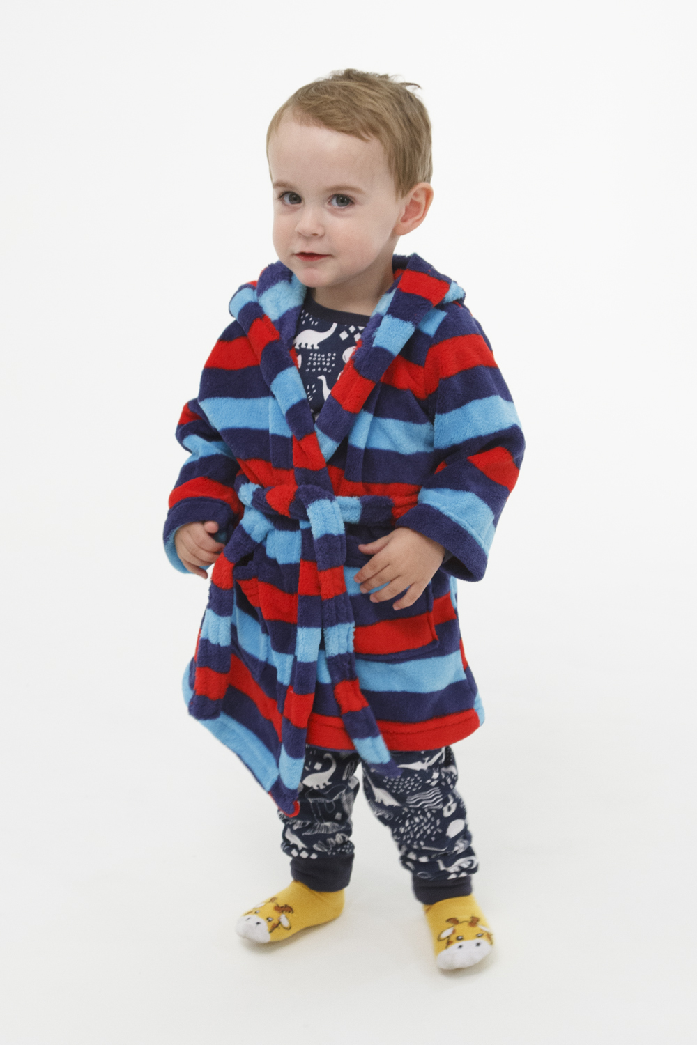 Boys Coral Fleece Hooded Dressing Gown Robe (Sz 0-2) Blue Red Stripes