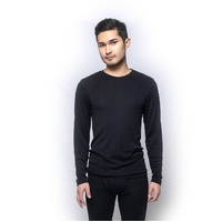 Mens Brandella Thermals 100% Pure Merino Wool Long Sleeve Top Black