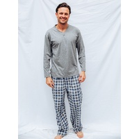 Mens PJS Size S-XXL Pyjamas Pelaco Cotton Top Flannel Pants Light Grey 6143303