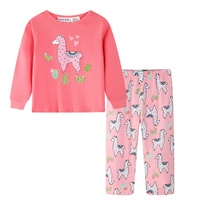 Girls Winter Flannel Knit Pjs 100% Pure Cotton (804) Melon Lama Sz 0-2
