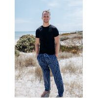 Mens PJS Size S-XXL Pyjamas Pelaco Light Cotton Long Pants Navy Blue (605515)