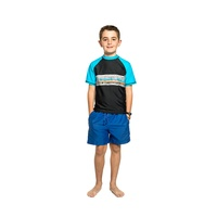 Boys 8-14 Black Blue Striped Trees Print Rash Bathers Top UPF50+