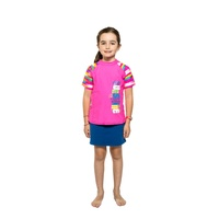 Girls 3-7 Hot Pink with Stripes Sunshine Print Rash Bathers Top UPF50+