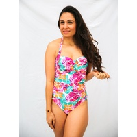 Ladies Coloured Floral Print 1 Piece Swimsuit Bathers UPF50+ (77817)