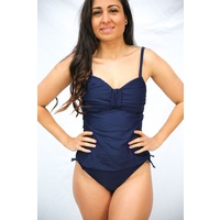 Ladies Navy Blue 2 Piece Padded Tankini Set Bathers UPF50+ (77801)