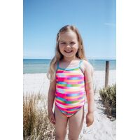 Girls Bathers 3-7 UPF50+ Swimwear 1 Piece Blue Rainbow Stripes (37856)