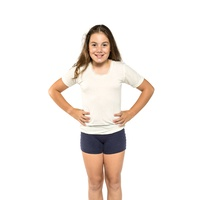 Girls Ktena Aust Made Wool Blend Thermal Short Sleeve Top Beige