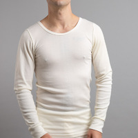 Mens Ktena Aust Made Wool Blend Thermal Long Sleeve Beige