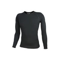 WW Mens Aust Made 100% Merino Wool 195gsm Long Sleeve Thermal Top Black (U900)