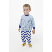 Boys PJs Size 0-2 Winter 2pc Long Sleeve Pyjamas Set Blue Monster Face (1954)