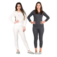 Ladies 2 Piece Wool Blend Thermal Long Sleeve Set Black or Beige