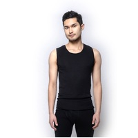 Mens Brandella Thermals  100% Pure Merino Wool Singlet Tank Vest Top Black