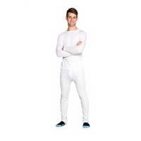 Mens Cotton Thermal Underwear 2 Piece Set Long Top & Long Pants White