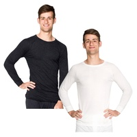 2 Pack Mens Wool Blend Thermal Underwear Long Sleeve Top Black or Beige