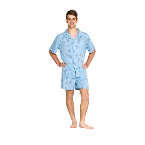 Mens Short Summer Cotton Blend Pyjamas Pjs Set Blue Diamond