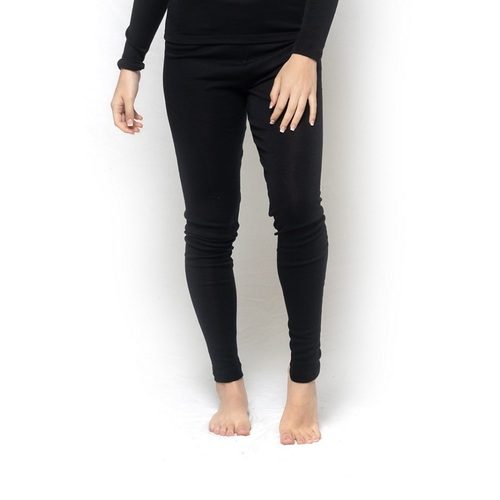 Ladies Brandella Thermals Spencers Pure Wool 200gsm Long Johns Pants Black