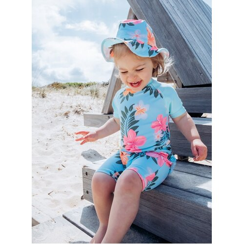 Girls Size 1-3 Bathers Full Rash Suit Set with Hat Aqua Floral