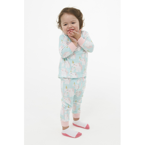 Girls (Sz 0-2) Winter Cotton Pyjamas Pjs Long Set Mint Unicorn Print (1901)
