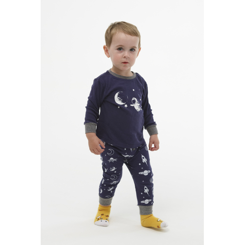 Boys PJs Size 0-2 Winter 2pc Long Sleeve Pyjamas Set Navy Blue Space (1951)