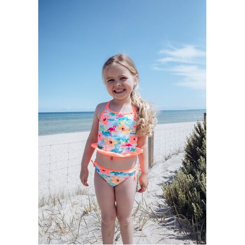 Girls Size 3-7 Bathers Tankini Set Flamingo Floral Print