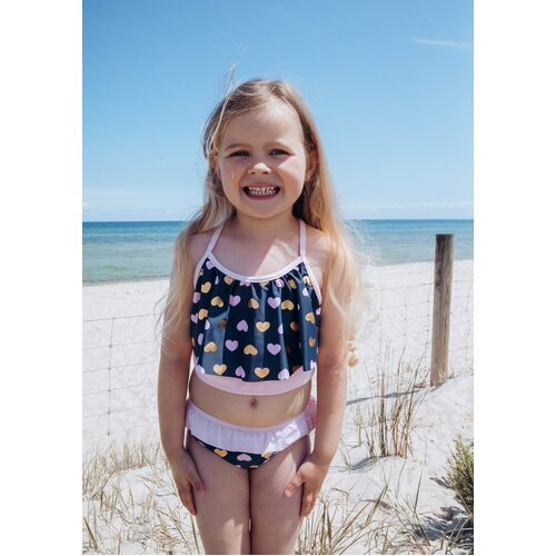 Girls Size 3-7 Bathers Tankini Set Navy Blue Hearts Print