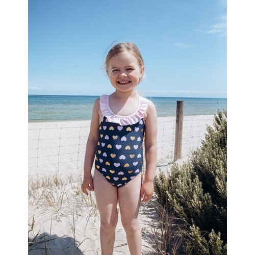 Girls Size 3-7 Bathers Swimsuit Gold Pink Hearts
