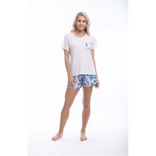 Ladies PJS Cotton Tee and Shorts White Blue Floral Namika