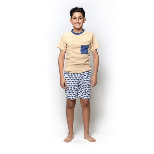 Boys Snugglebum Pure Cotton Short Sleeve Pyjamas Mustard