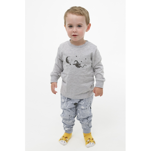 Boys Sizes 0-2 Grey Space Long Set PJS Pyjamas