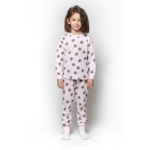 Girls Pink Dandelion Print Pyjamas Long Set PJS