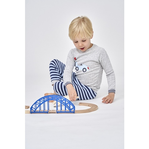 Boys Sizes 5-8 Grey Car Cotton Long Sleeve PJS Pyjamas HL