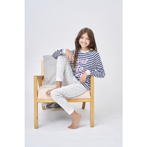 Girls Sizes 10-16 Cest La Vie Navy Cotton Long Sleeve PJS Pyjamas HL