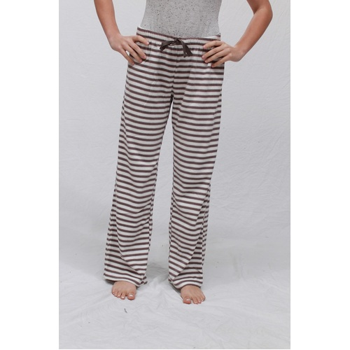 Ladies PJS Size 8-10 Only Winter Pyjamas Coral Fleece White Brown Stripe