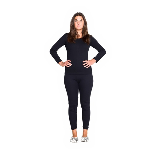 Ladies 2 Piece Set Cotton Thermal Underwear Spencer Long Sleeve & Pants Black