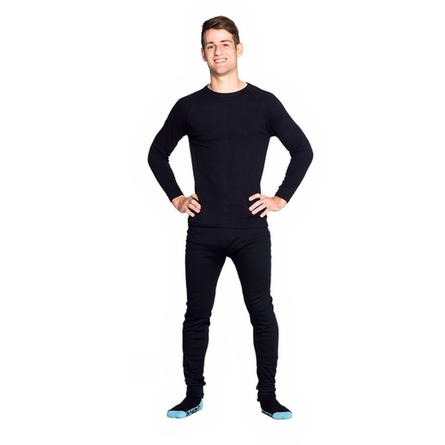 Mens 2 Piece Set Cotton Thermal Underwear Long Top & Long Pants Black