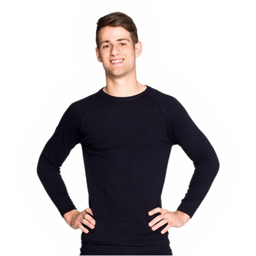 2 Pack Mens Cotton Thermal Underwear Long Sleeve Top Black