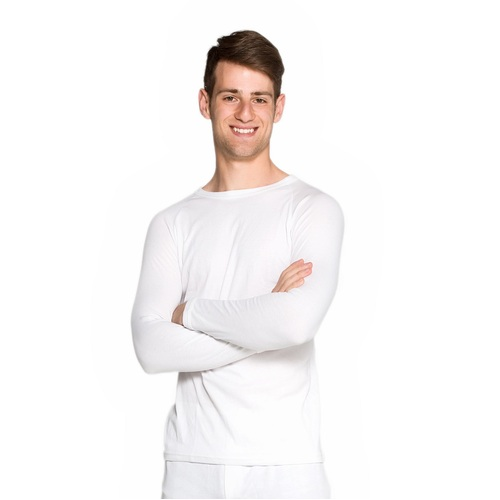 2 Pack Mens Cotton Thermal Underwear Long Sleeve Top White